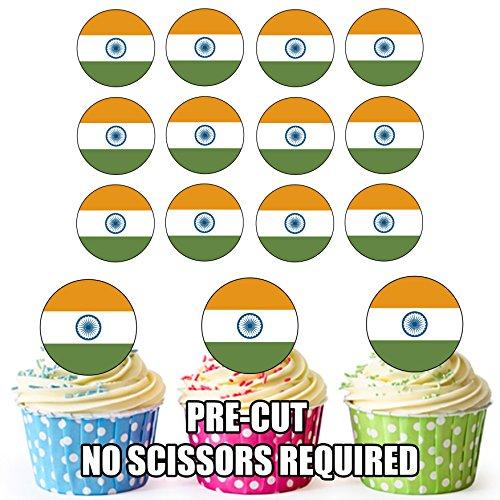 India Vlag - 24 Eetbare Cupcake Toppers/Verjaardag Cake Decoraties - Easy Precut Circles