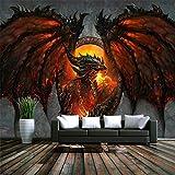 Dragón de dibujos animados papel pintado mural pintura 3D fondo...