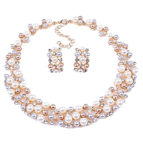 QIYUN.Z Multi-Row Strand Pearl Beaded Torsade Bib Choker Collar Necklace Earrings Set