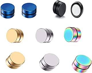 8MM Stainless Steel Magnetic No Piercing CZ Fake Gauges Earring Studs for Non Pierced Ears,Gold, Silver Black,Hypoallergenic
