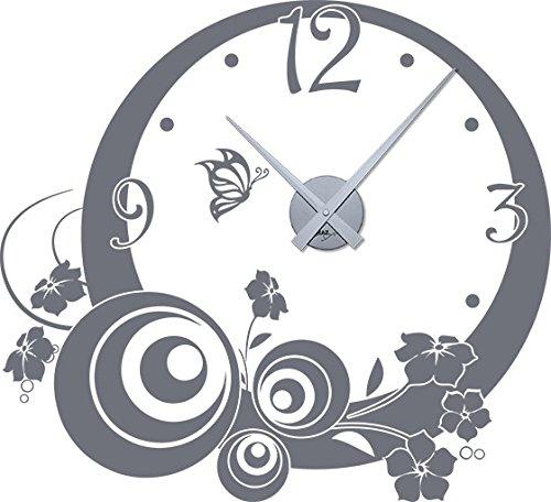 GRAZDesign wandklok grote sticker retro cirkels - wandtattoo met uurwerk leuk motief voor keuken hal slaapkamer / 800504 Uhrwerk silber 071, grijs