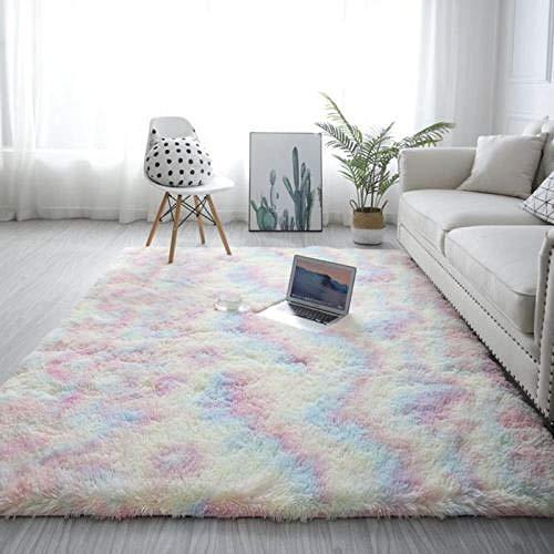 Einfacher Couchtisch Wohnzimmer Indoor Teppich Schlafzimmer Fensterbank Home Girl Teppich Matte-200X300Cm_Rainbow_Color