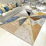 AU-SHTANG Alfombra de Pelo Alfombra Amarilla marrón, triángulo patrón de mármol...