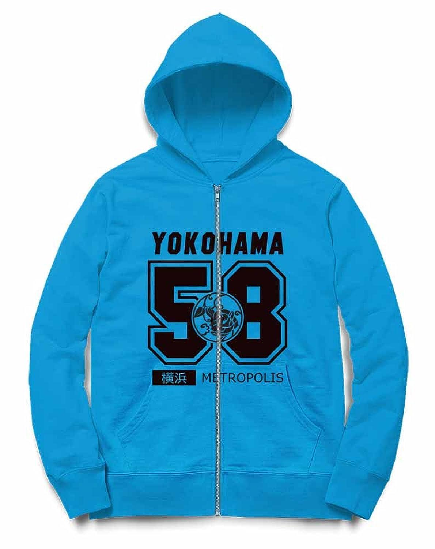 Fox Republic 横浜 YOKOHAMA カレッジロゴ オーシャンブルー キッズ パーカー シッパー スウェット トレーナー 150cm