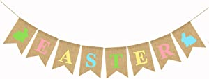 Easter Burlap Garland Banners, Rabbit Bunny Burlap for Easter Decorations Home Office School Outdoor Party Supply
