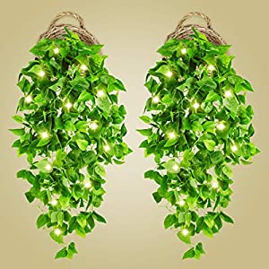 2 Pcs Artificial Hanging Plants 3.6ft Fake Ivy Vines with Lights Greenery Hanging Plant Wall Plants with 2 Pcs 40 Led Fairy Lights for Wall Decor Home Garden Wedding Decorations (Basket Not Included)