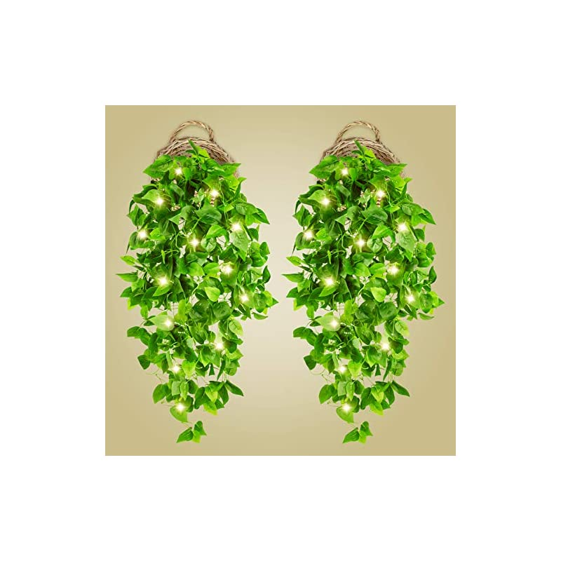 silk flower arrangements 2 pcs artificial hanging plants 3.6ft fake ivy vines with lights greenery hanging plant wall plants with 2 pcs 40 led fairy lights for wall decor home garden wedding decorations (basket not included)