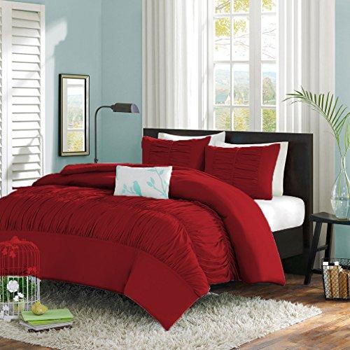 Scala SCALABEDDING Central Versammelt Rüschen Mimi mit Bettbezug/Tagesdecke mit Passender Kissenbezüge 5Teile Set 500TC ägyptische Baumwolle Doppelt Rot