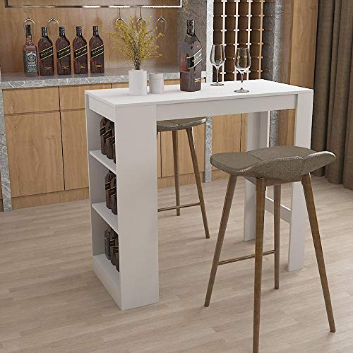 LEPAK Kitchen Breakfast Bar Table for Home,White Desks Coffee Dining Table Tall Breakfast Side End Stand with 3 Tier Storage Shelves for Red wine, beverages, kitchen spices and Books,magazines (White)