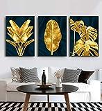 Impresiones en lienzo Nórdico Moderno Hojas doradas y verdes Estilo de moda Pintura en lienzo Impresiones artísticas Carteles Pared Sala de estar 40x60cmx3 Sin marco