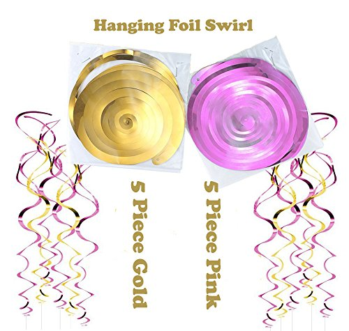 Pink and Gold Decoration Party Supplies Kit - Happy Birthday Banner, Rainbow Cake Topper, Pom Pom Flower, Tassel, Star Garland, Hanging Swirl for 1st Birthday Girl Decor Baby/Bridal Shower - 90 Pieces