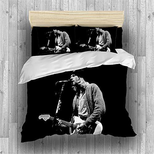 REALIN Bettbezüge Set Qurat Cobain Bettwäsche Nirvana Sänger Und Gitarrist Bett Sets 2/3/4Teilig Bettbezüge/Kissenbezüge/Bettlaken Für Kinder,Jungen,Mädchen (C,Single-140x210cm-3PCS)