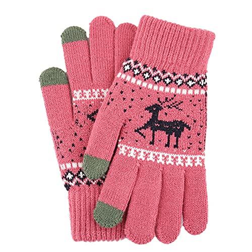 YOUQQI Damen Handschuhe Weihnachtskarikatur Touchscreen Handschuhe Winterhandschuhe Fahrradschuhe Handschuhe Winter Warm Handschuhe mit Fleecefutter für Frauen