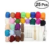 OUNONA Needle Felting Wool - Set para arte y manualidades, 25 colores
