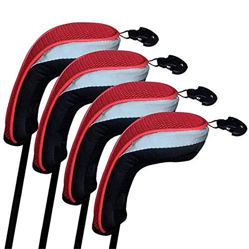 DHTOMC Golfschläger Eisen Kopfhauben Golf Putter Headcover Golf Holz Putting Cover Set von 4 retikulierten Golf Schutzhülle For1 / 3/5 / Fairway Alle Männer und Frauen sind gut Licht Durable