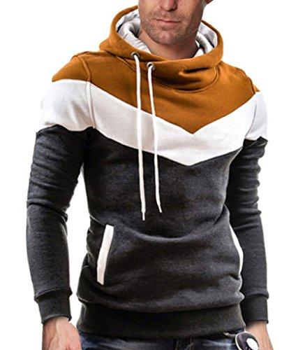 Elonglin Homme Sweat-Shirt à Capuche Chandail Sport Pullover Couleur Contraste Gris-foncé Marron FR M (Asie XXL)