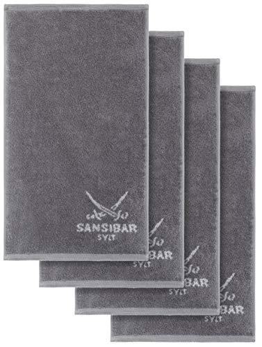 Sansibar Gästetuch Doubleface 4er 30x50 cm Handtuch Seiftuch Zweifarbig 100% Baumwolle Anthrazit/Silber