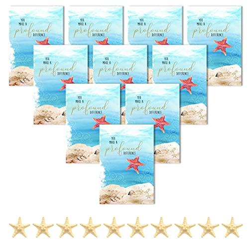 Smiling Wisdom - 10 Bulk The Starfish Story Bulk Appreciation Cards - 5x7 inch Full-Sized Greeting Cards Envelopes & Resin Starfish Sentiments - Her Him Men Women - Multi-Colored, Cream