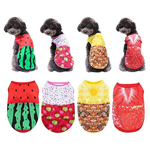 Set of 4 Dog Clothes for Small Medium Dogs Boy Girl Sebaoyu Puppy Shirts Cute Dog Outfit Pet Cat Clothing Male Dog Clothes for Ropa para Perros Yorkie Teacup Chihuahua French Bulldog Breed(M)