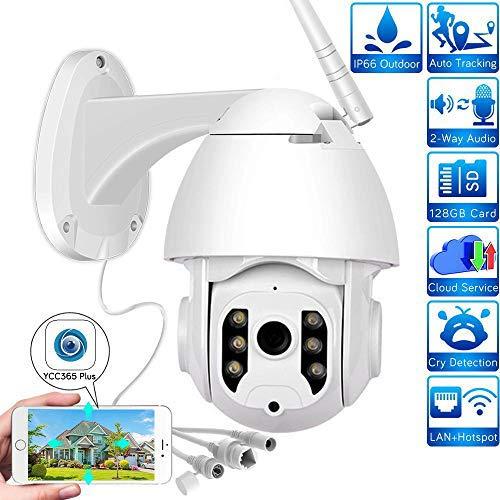Telecamera di Sicurezza WiFi 1080P Telecamera IP PTZ per Esterni Telecamera IP Audio bidirezionale Rivelazione Umana AI Impermeabile/Compatibile con Il protocollo Alexa Support Onvif