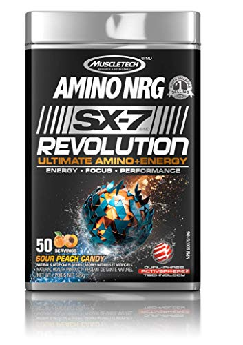 MUSCLETECH Amino NRG SX-7 Revolution Ultimate Amino+ Energy, Sour Peach Candy, 50 Servings, 529 g