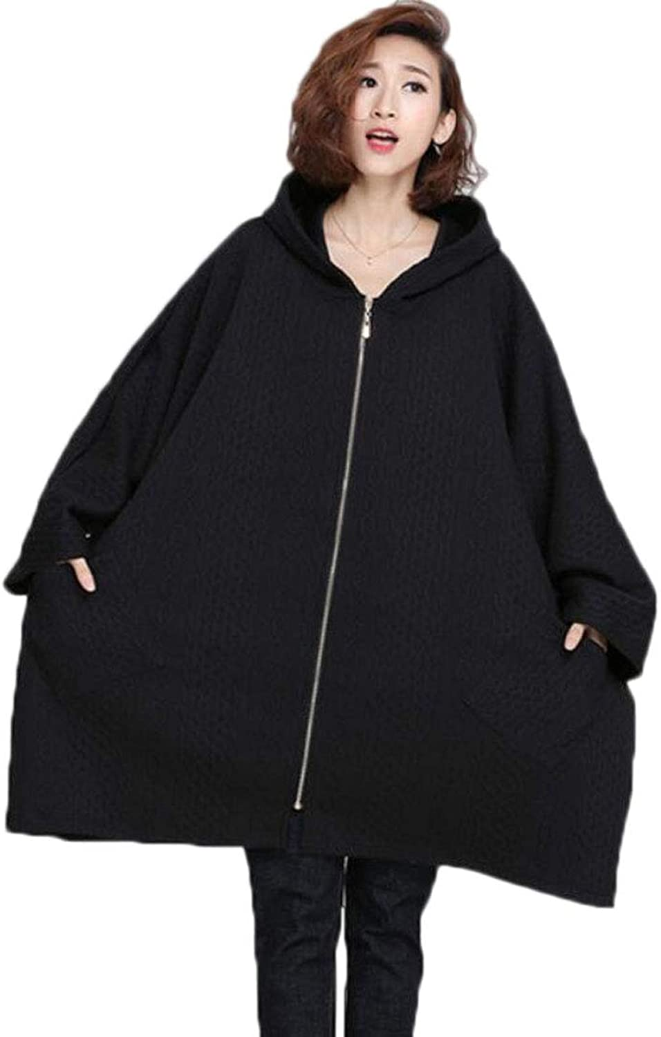 Autumn and Winter Fashion Large Size was Thin Quilted Cardigan Loose Comfortable Sleeve Coat Black (color   Black, Size   OneSize)