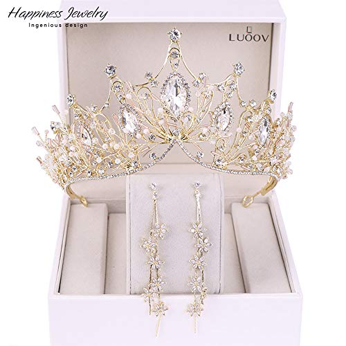 Corona nuziale per sposa con strass principessa diadema per donne balli di fine anno e regina, corona da sposa