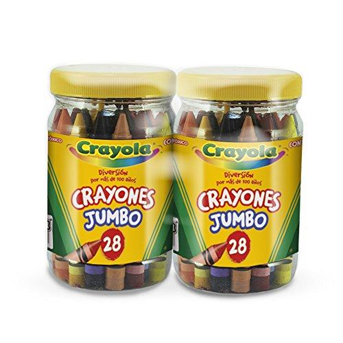 Crayola 5243320002 2 Botes con 28 Crayones Jumbo de Cera