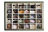 Colección de 30 Minerales del Mundo Premium en Caja de Madera Natural - Minerales Reales educativos de Gran tamaño con Hoja de descripción. Kit Geología para niños