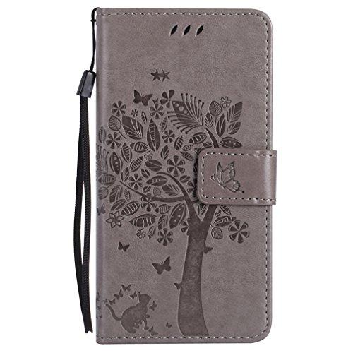 LMAZWUFULM Hülle für HTC One M8 / HTC One M8S 5.0 Zoll PU Leder Magnet Brieftasche Lederhülle Baum und Katze Prägung Design Stent-Funktion Ledertasche Flip Cover für HTC One M8 / M8S Grey