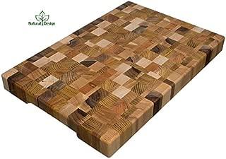 Cutting Board 18 x 12 x 1.6 inch End Grain Chopping Block Wood: Cherry Oak Canadian Oak Ash-tree Walnut Beech Hardwood Extra Thick Durable & Resistant