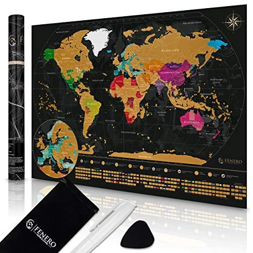 FENERO Weltkarte zum Rubbeln XXL [DIN A1] - aus exklusivem Kunststoff - Rubbel Weltkarte Deutsch - Landkarte zum Rubbeln mit Marker, Plektrum & Täschchen