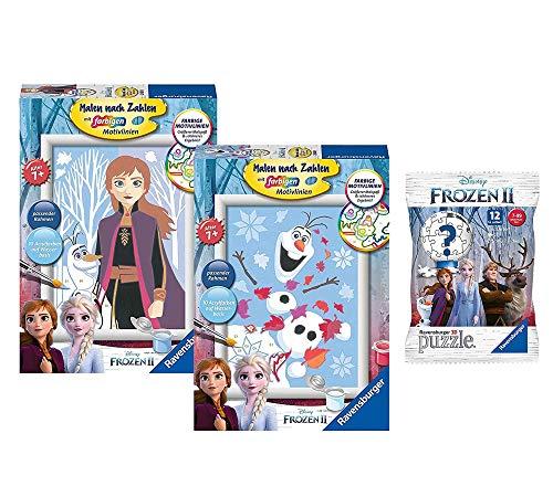 Ravensburger Dipingere secondo i numeri 28484 Disney Frozen 2: allegro Olaf + 27699: Anna e Olaf + Disney Frozen 2 pezzi – Puzzle 3D