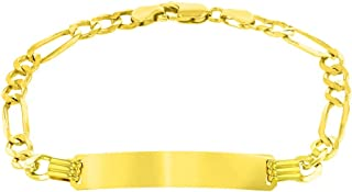 14K Yellow Gold Engravable ID Bracelet with 5mm Figaro Chain Link, 6