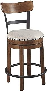 Ashley Furniture Signature Design - Valebeck Upholstered Swivel Barstool - Casual Style - Light Brown