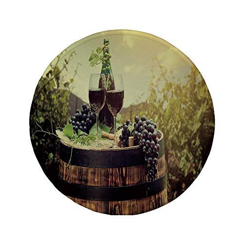 Rutschfreies Gummi-Rundmaus-Pad Wein malerische toskanische Landschaft mit Fass Paar Gläser und reifen Trauben Wachstum dekorativ grün schwarz braun 7,87 'x 7,87' x 3 mm