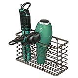 mDesign porte sèche-cheveux en métal – panier de rangement pour salle de bain avec 3 compartiments – module de rangement multifonction pour brosses, fer à boucler, lisseur, etc. – couleur bronze