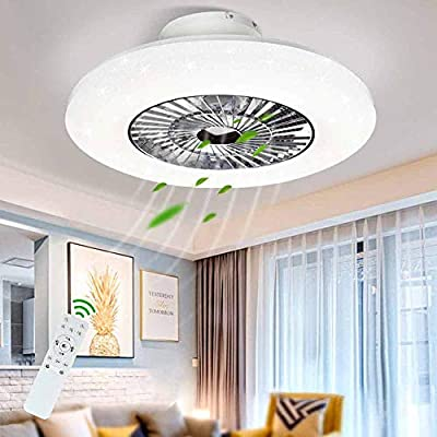 DLLT LED Remote Ceiling Fan with Light Kit-40W Modern Dimmable Ceiling Fan Lighting, 7 Invisible Blades Ceiling Fans, 23 Inch Ceiling lighting Fixture Flush mount, 3 Color Changeable, 3 Files, Timing from DINGLILIGHTING