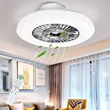 DLLT LED Remote Ceiling Fan with Light Kit-40W Modern Dimmable Ceiling Fan Lighting, 7 Invisible Blades Ceiling Fans, 23...