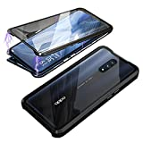 HikerClub Oppo Reno 10x Zoom Case - Clear Magnetic Adsorption Case Full Body Protection Metal Bumper Touchable HD Flip Cover Crystal Double Sided Tempered Protective Case (Black)