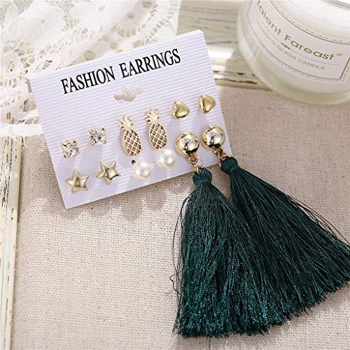 Earrings for Women for Anniversary Set Earrings Ethnic Style Tassel Geometric Stud Earrings Cuff & Wrap Earrings for St.Patrick's Day in (I)