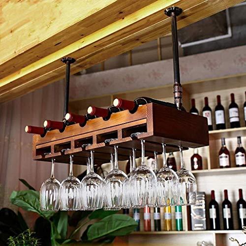 COLiJOL Estante de Alenamiento de Vino Estante de Vino Industrial Viento Retro Estante de Copa de Vino Colgante Estante de Botella de Vino Tinto Alenamiento Fácil de Instalar (Color: B)