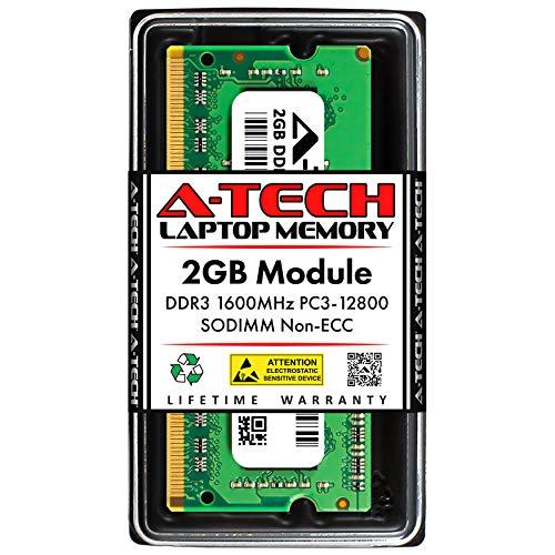 A-Tech 2GB DDR3 1600MHz SODIMM PC3-12800 CL11 Non-ECC Unbuffered 204-Pin SO-DIMM Notebook Laptop RAM Memory Upgrade Module Alaska