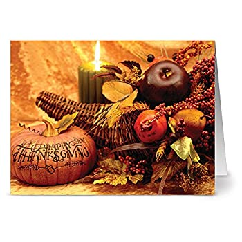 Note Card Cafe Thanksgiving Greeting Cards with Kraft Envelopes   24 Pack   Thanksgiving Centerpiece Design   Blank Inside Glossy Finish   Winter Fall Autumn Holiday