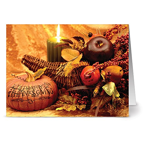 Note Card Cafe Thanksgiving Greeting Cards with Kraft Envelopes | 24 Pack | Thanksgiving Centerpiece Design | Blank Inside, Glossy Finish | Winter, Fall, Autumn, Holiday