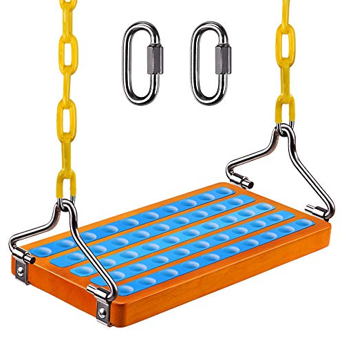 """SELEWARE 17.5"""" X 8.2"""" Non Slip Wooden Swing Seat , Hanging Wooden Tree Swing Seat with 65"""" Metal Chain Plastic Coated and Snap Hook Swing Set for Adult Kid Indoor Outdoor Playground Backyard, Blue"""