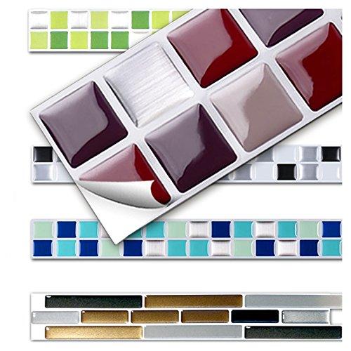 Wandora 7 Stück 25,3 x 3,7 cm Fliesenaufkleber rot beige Silber Design 2 I 3D Mosaik Küche Bad Fliesendekor Aufkleber Wandaufkleber Wandsticker W1431