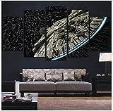 LQWE Leinwand Gemälde Moderne Wandkunst Bilder Wohnkultur Poster 5 Panel Star Wars Zerstörer Millennium Falcon Wohnzimmer Hd Gedruckt Malerei Rahmen