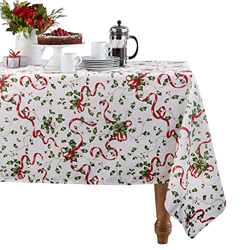 Christmas Holiday Tablecloth, ColorBird Wreath Fabric Table Cover for Dining Kitchen Living Decorative Tabletop Cover (60 x 102 Inch,Rectangle/Oblong, Red and White)