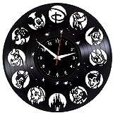 EVEVO Walt Disney Disque Vlnyle Disques Vinyliques Horloges Murales Vinyle Record Mur l'horloge Créatif Classique Accueil Décor Musical Fait Main Temps l'horloge Walt Disney